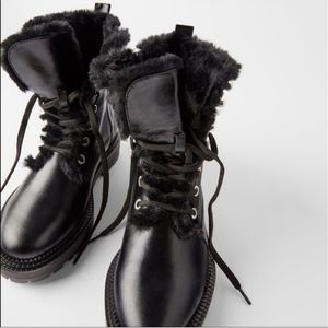 Zara flat leather biker ankle with faux fur sz 36